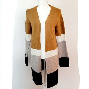 Kent Colorblock Long Cardigan, Heather Linen